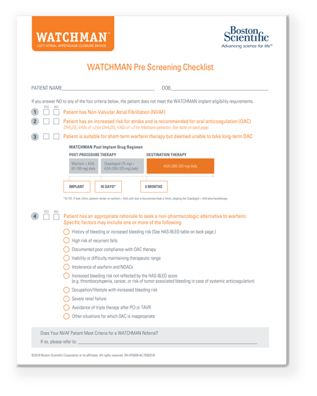 WATCHMAN Pre-Screening Tool