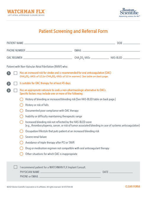 WATCHMAN Patient Screening & Referral Form