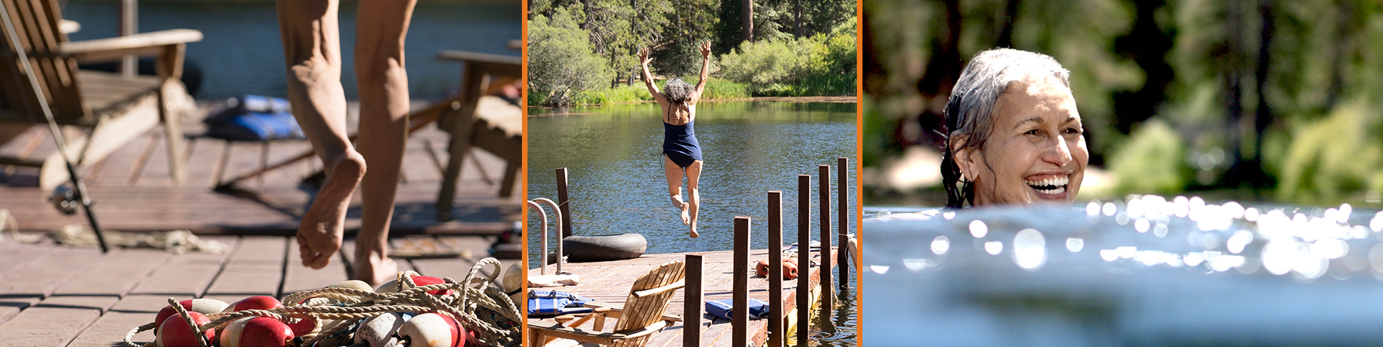 woman jumping off dock and swimming